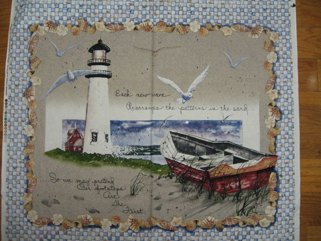 Image 1 of Lighthouse Boat sea gulls shells ocean fabric wall panel to sew //
