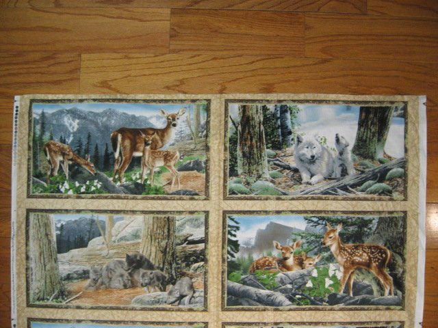 Image 1 of Deer Fawn Doe Wolf cotton Fabric wall panel set of four to sew /