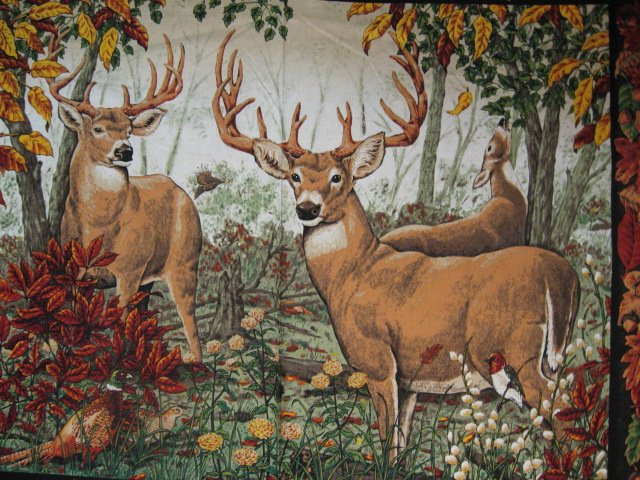 Deer Doe Buck Phesant Bird and Acorns cotton Fabric wall panel to sew /