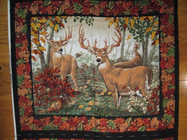 Image 1 of Deer Doe Buck Phesant Bird and Acorns cotton Fabric wall panel to sew /