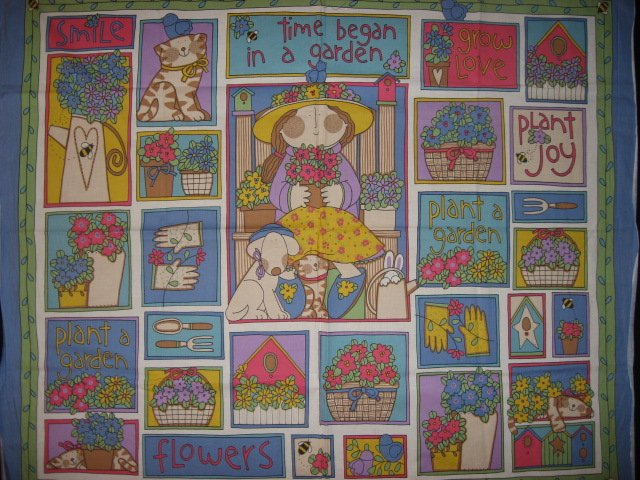 Garden girl with flowers cat and dog Fabric wall panel to sew //