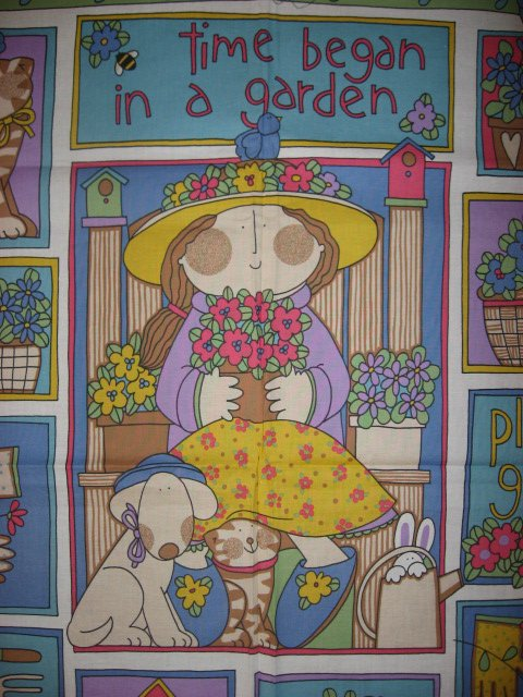 Image 1 of Garden girl with flowers cat and dog Fabric wall panel to sew //