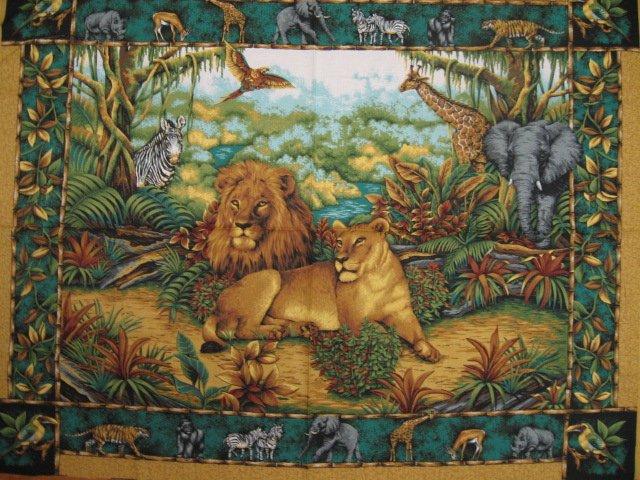 Image 0 of Zebra Lion Giraffe Jungle Wall Fabric Panel to sew //