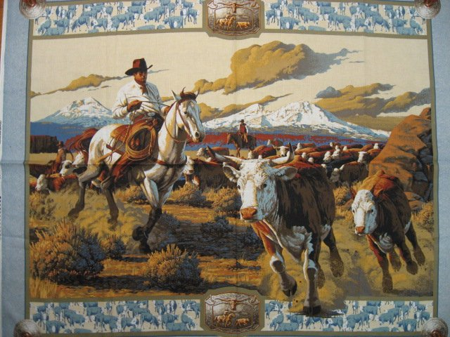 Image 0 of Cowboy Horse and Cattle Southwest concho fabric wall panel to sew /