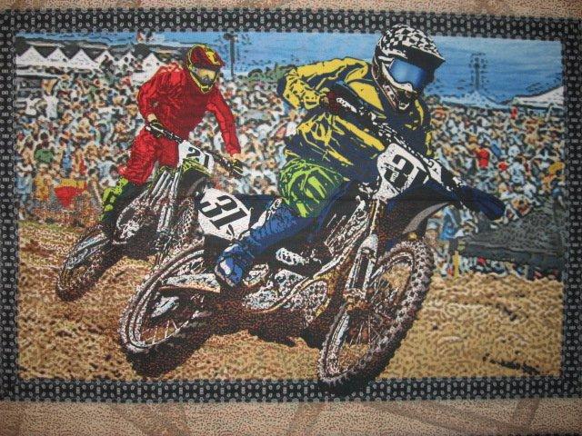 Image 1 of Motorcycle Dirt Bike Racing sport Fabric panel set to sew