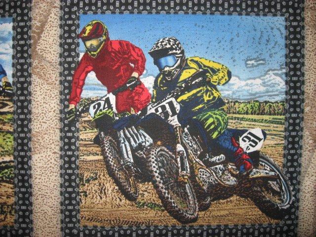 Image 3 of Motorcycle Dirt Bike Racing sport Fabric panel set to sew