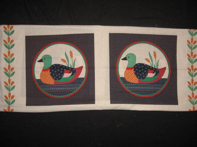 Ducks Cattails green red circle Fabric Pillow Panel set to sew