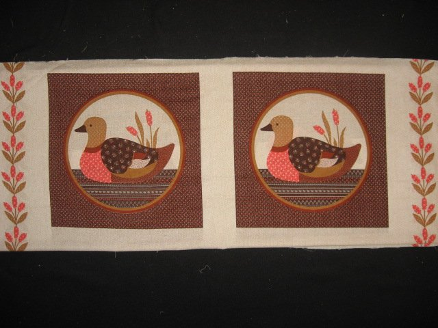 Ducks Cattails brown circles Fabric Pillow Panel set to sew