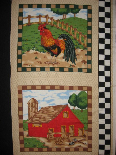 Rooster and Barn on a Farm checks border Fabric Pillow Panel set of two