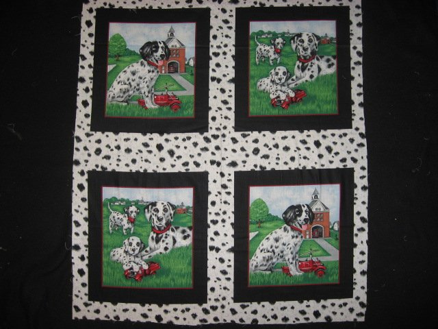 Dalmatian dog Fire House Soft Fabric Pillow Panel set of four to sew