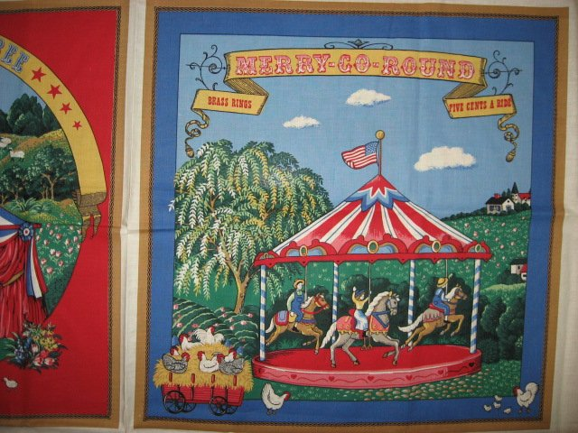 vintage Merry-Go-Round Horses Rare out of print One Pillow Panel Fabric to sew