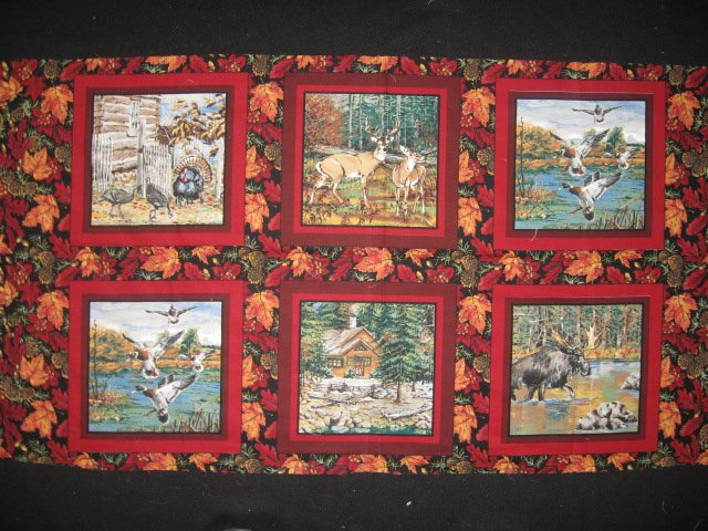 Deer turkey dog cabin ducks fishing geer fabric pillow panel set of six