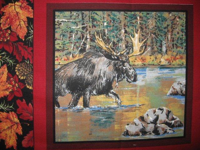Image 1 of Deer turkey dog cabin ducks fishing geer fabric pillow panel set of six