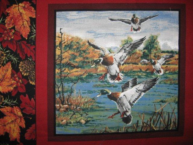 Image 3 of Deer turkey dog cabin ducks fishing geer fabric pillow panel set of six