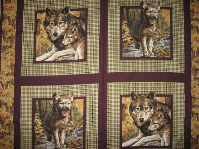 Image 0 of Wolf Wolves wild Animal in the Woods Fabric Pillow Panel Set of four