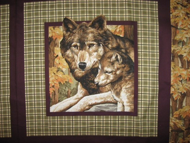Image 1 of Wolf Wolves wild Animal in the Woods Fabric Pillow Panel Set of four