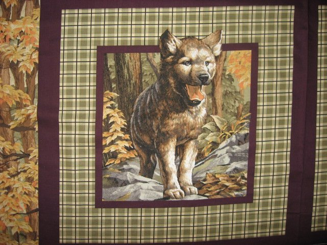 Image 2 of Wolf Wolves wild Animal in the Woods Fabric Pillow Panel Set of four