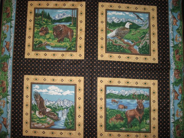 Eagle Buffalo Deer wilderness set of Four different fabric pillow panels to sew