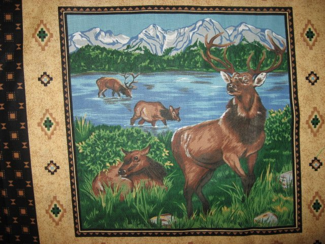 Image 1 of Eagle Buffalo Deer wilderness set of Four different fabric pillow panels to sew