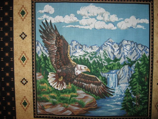 Image 2 of Eagle Buffalo Deer wilderness set of Four different fabric pillow panels to sew