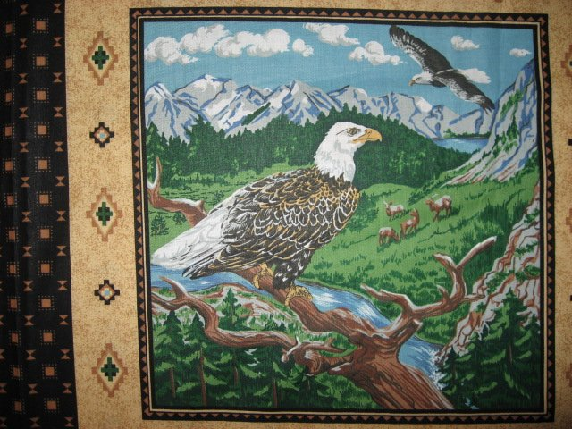 Image 3 of Eagle Buffalo Deer wilderness set of Four different fabric pillow panels to sew