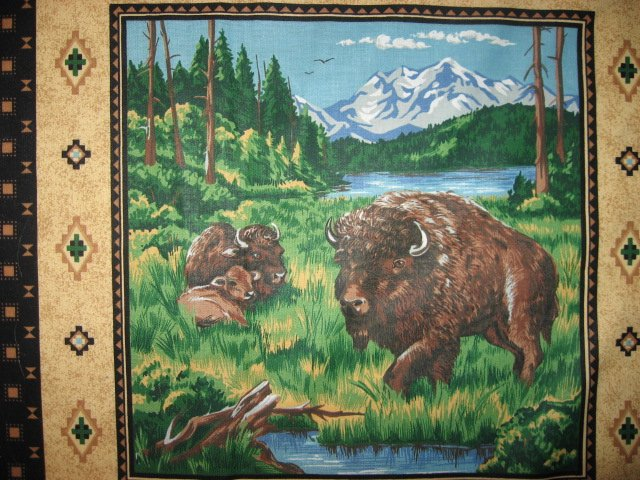 Image 4 of Eagle Buffalo Deer wilderness set of Four different fabric pillow panels to sew