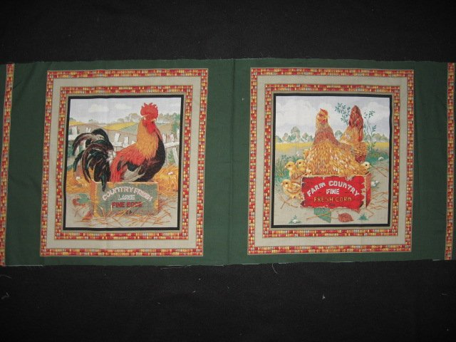 Roosters Chickens Indian corn Two Fabric pillow panels to sew