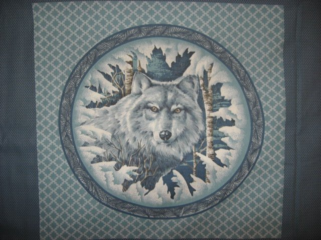 Owl and Wolf in the wilderness Fabric Pillow Panel set of two to sew