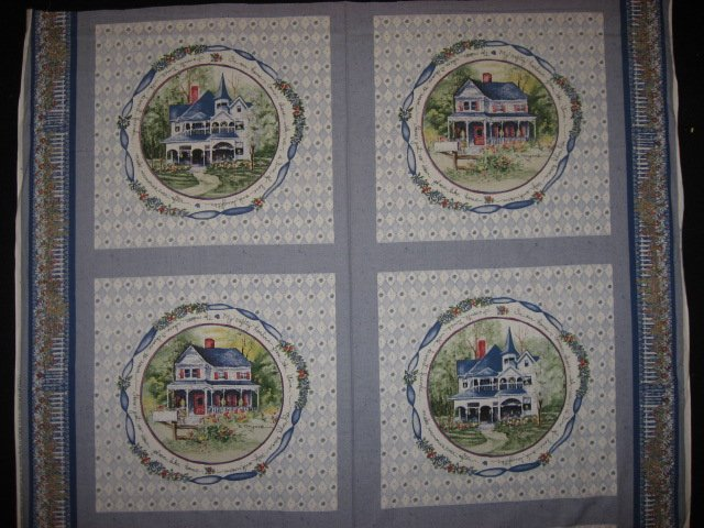 Country home house flowers fabric pillow panel set of four to sew
