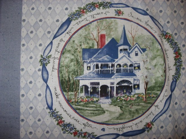 Image 1 of Country home house flowers fabric pillow panel set of four to sew