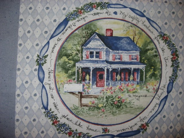 Image 2 of Country home house flowers fabric pillow panel set of four to sew