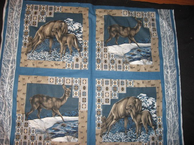 Deer in the snow fabric pillow panel set of four to sew or quilt