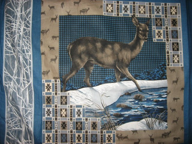 Image 1 of Deer in the snow fabric pillow panel set of four to sew or quilt