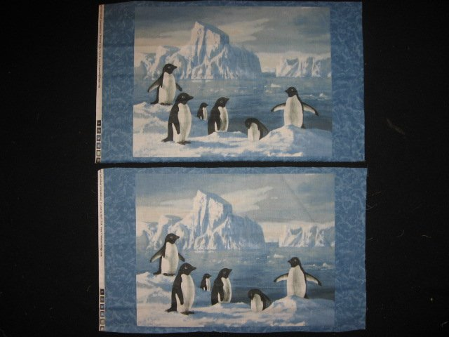 Artist Hautman Six Penguins on Ice Two rectangular Fabric Pillow Panels to sew