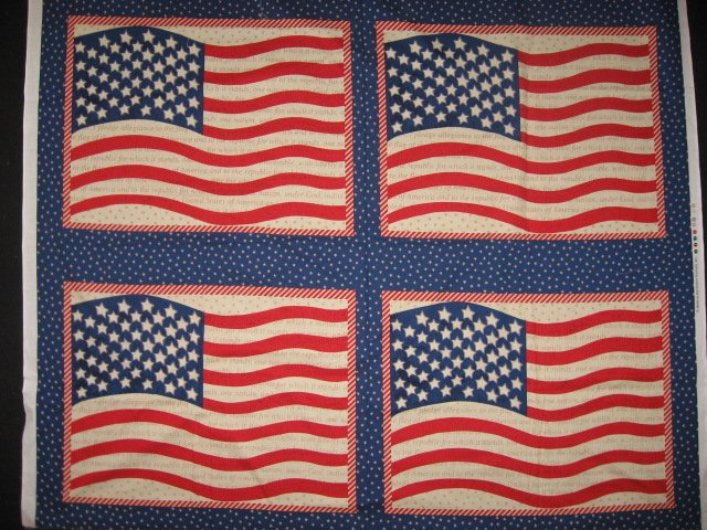 American flag stars USA Fabric Pillow Panel set of four