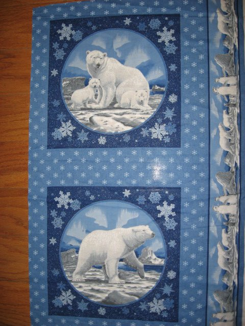 Polar Bear Northern Lights fabric pillow panel set of two to sew