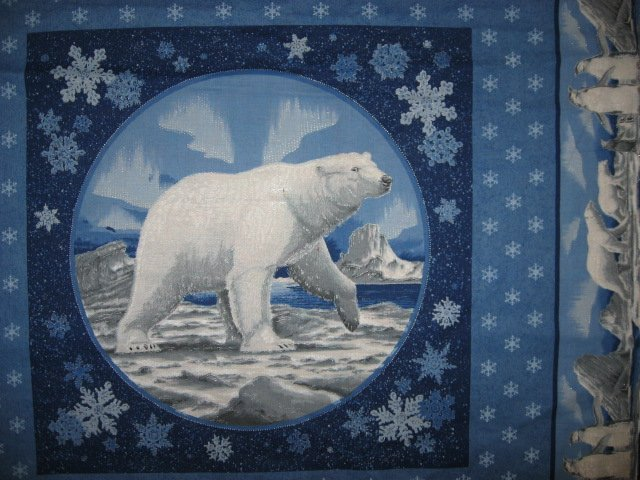 Image 0 of Polar Bear Northern Lights fabric pillow panel set of two to sew