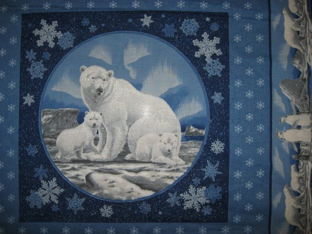 Image 2 of Polar Bear Northern Lights fabric pillow panel set of two to sew