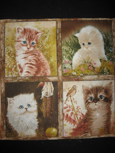Image 1 of Cats and kittens Artist Giordano Pictures sixteen squares of cotton fabric