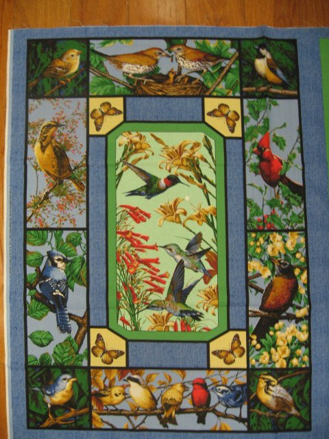 Cardinal robin bluejay Hummingbird butterfly fabric wall panel sew /