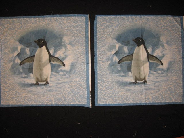 Artist Hautman Penguin on Ice Two Large glitter Fabric pillow panels to sew