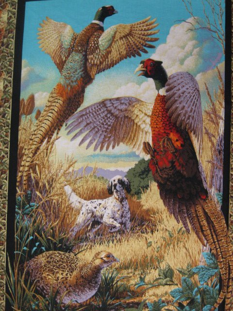 Phesant and hunting Dog cotton fabric Pillow and Wall panel set to sew //