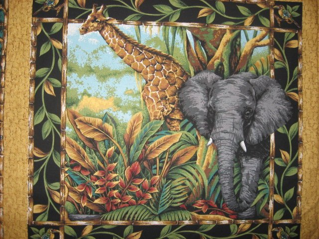 Image 1 of Lion Giraffe Elephant Jungle cotton Fabric Pillow Panel Set of four to sew