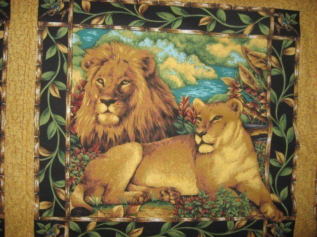 Image 2 of Lion Giraffe Elephant Jungle cotton Fabric Pillow Panel Set of four to sew