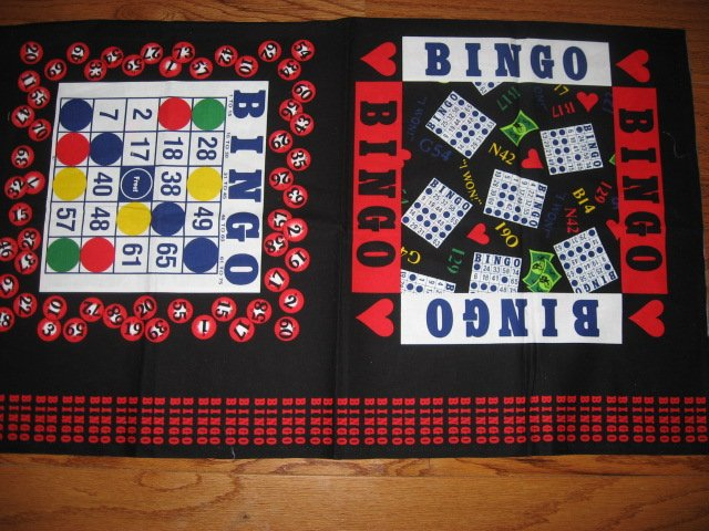 Bingo Game gambling bag or Pillow Fabric Panel set Rare Out of print