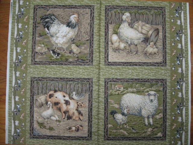 Chicken Pig Duck Sheep Lamb olive green Fabric Pillow Panel set of four