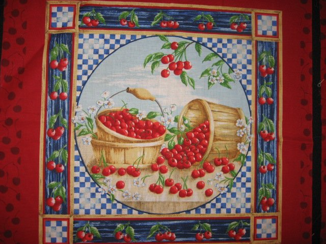 Cherry basket fruit Two Pillow Panels of the same Fabric to sew