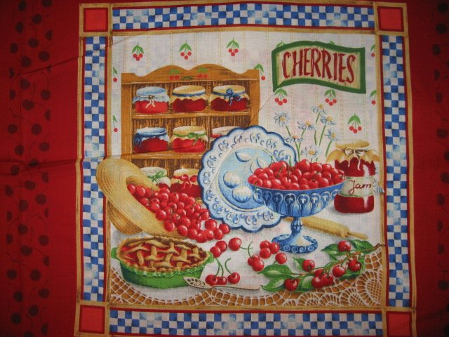 Cherry jam jelly pie plate one Pillow Panel Fabric to sew