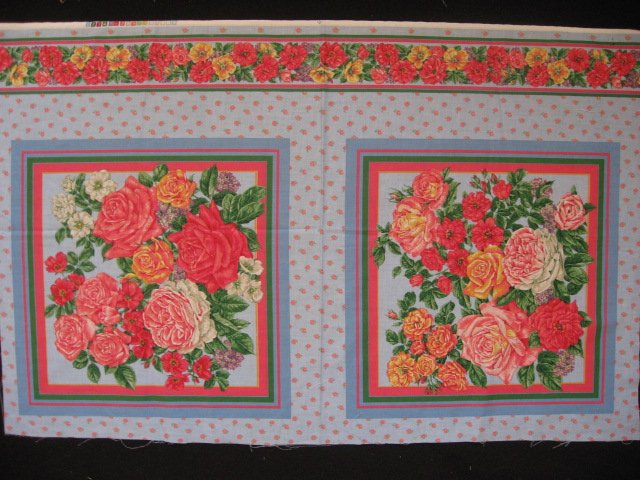 Image 0 of Roses and white flower pink and blue Fabric pillow panels set of two