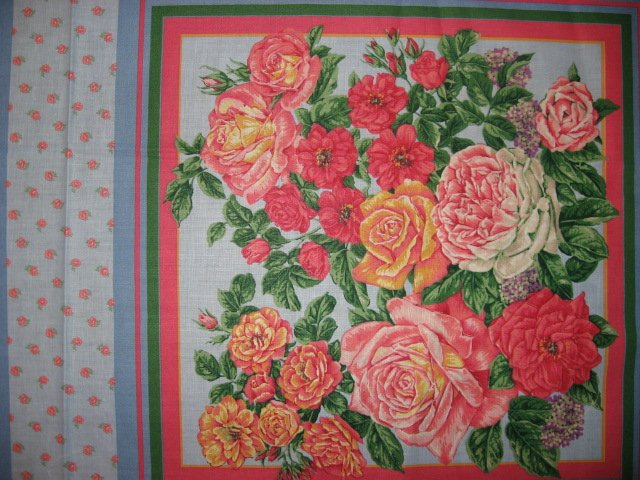 Image 1 of Roses and white flower pink and blue Fabric pillow panels set of two